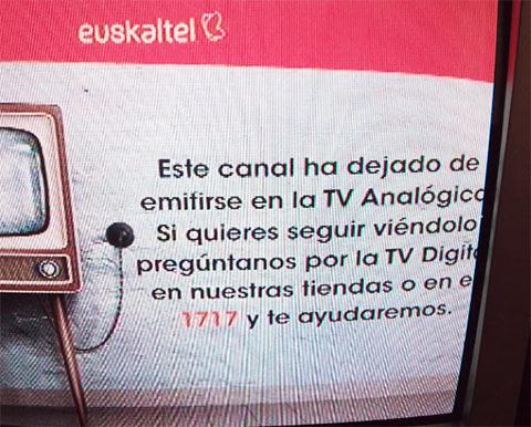 Apagón TV analógica Euskaltel